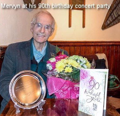 Mervyn at his 90th birthday concert party
