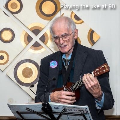 Playing the uke at 90